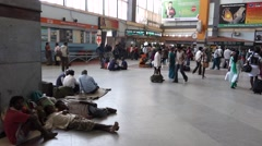 People waiting in Train station Bagalore circa march 2014 in India Stock Footage