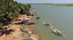 View at Terekhol river from Aronda Kiranpani bridge Stock Footage