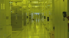 Production floor in a Semiconductor manufacturing plant Stock Footage