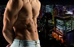 Close up of male bodybuilder bare torso Stock Photos