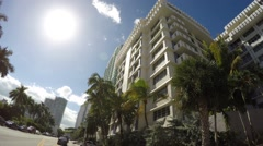 Driving on West Avenue Miami Beach Stock Footage