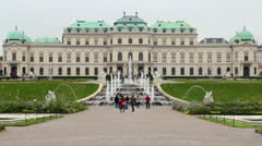 Tourists taking photo, Vienna city attraction site seeing place, click for HD Stock Footage