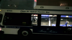 empty MTA bus at night in NYC pulling up to busstop in New York City - stock footage