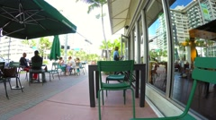 Starbucks outdoors Miami Beach - stock footage