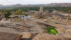 Pan around central part of Humpi with Virupaksha Temple Stock Footage