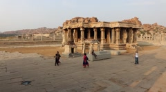Pan around Vittala Temple with the stone chariot - stock footage