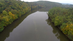Calm river autumn aerial shot, fly above still water, brown, click for HD Stock Footage