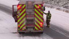 Car accidents and crash in snow storm and icy roads in Kitchener Ontario Stock Footage