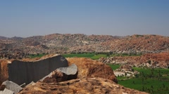 Pan around Hampi valley Stock Footage