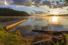 Seventh Lake shore sunset Stock Photos