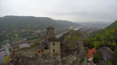 Flying around medieval castle, city dam, old fortress on river, click for HD Stock Footage
