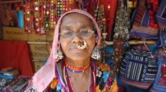 Typical traditional old indian woman Stock Footage
