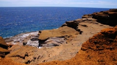 View From The Cliff On The ocean Stock Footage