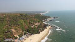 Arambol beach near Sweet lake from the air Stock Footage