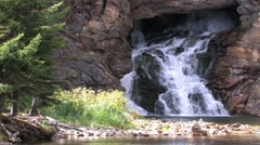Running Eagle Waterfall zoom out at 29.9fps Stock Footage