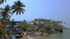 Palolem beach with cottages Stock Footage