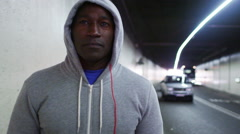 Portrait of athletic black male in urban environment Stock Footage