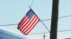 2519 American Flag with Blue Sky in Slow Motion Stock Footage