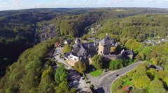European ancient 600 year old castle in Germany Europe, aerial, click for HD Stock Footage