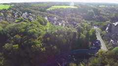 Small European village Germany aerial from above, slow pace calm, click for HD Stock Footage