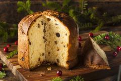 homemade panettone fruit cake - stock photo