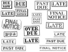 Distressed late, past due, and final notice stamps Stock Illustration