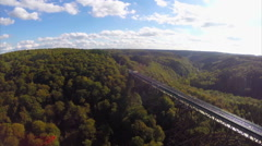 Beautiful shining high unique bridge, railroad German, aerial, click for HD Stock Footage