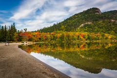 early fall colors and reflections at echo lake,  in franconia notch state par - stock photo