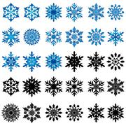 Set of thirty blue and black snowflakes Stock Illustration