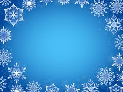 Stock Illustration of greeting card with azure snowflakes