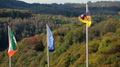 Flag of Germany, European Union, North Rhine-Westphalia waving, click for HD - stock footage