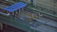 Aerial Shot Car Traffic At Expressway Highway Toll Booth Busan South Korea 4K Stock Footage