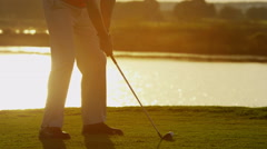 Stock Video Footage of Professional Male Caucasian Playing Golf Commercial Sponsorship Swing Leisure
