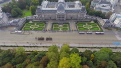 Palais Royal tourist attraction palace aerial, ceremony parade, click for HD Stock Footage