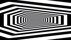 Concentric oncoming abstract symbol, coffin on west - optical, visual illusion Stock Footage