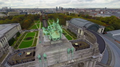 Aerial shot Brussels park monument, city from above, tunnel cars, click for HD Stock Footage