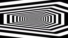 Concentric oncoming abstract symbol, coffin on east - optical, visual illusion Stock Footage