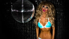 Sexy disco female drag queen glamour party music burlesque Stock Footage