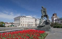 kazan, monument to musa dzhalil near the kremlin. - stock photo