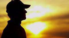 Stock Video Footage of Male Caucasian Golf Player Victory Champion Celebration Success Winner Sunset