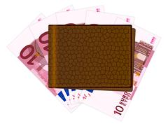 wallet with ten euro banknotes - stock illustration