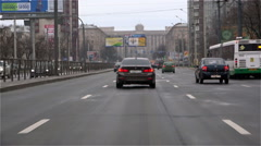 Vehicular traffic during the daytime on Leninsky Prospekt Stock Footage