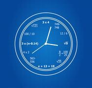 Mathematical Equations Clock - stock illustration