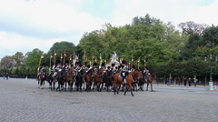 Stock Video Footage of Horsemen squad in traditional Belgium uniform on Royal parade, click for HD