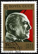 ussr postage stamp pablo picasso - stock photo