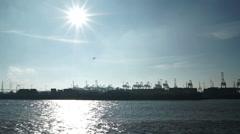 19Hamburg Blick auf Containerhafen01 Stock Footage