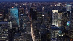 Nightlife NYC Skyline Busy New York City Street Fifth Avenue Night Evening Shot Stock Footage