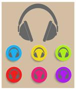 Headphones icon. Vector - stock illustration