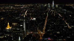 Establishing Shot New York City Skyline Midtown Manhattan Landmark Night Evening Stock Footage