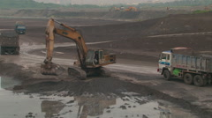 Trucks load industrial waste. HDV to HD Stock Footage